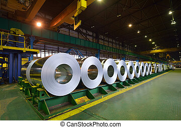 rolls of steel sheet inside of plant, Cold rolled steel...