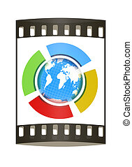 Earth and four semi-circle. 3d button. The film strip