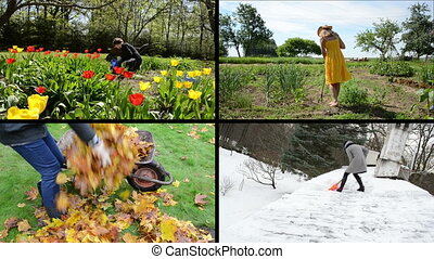 seasonal works collage - Flower bed weed in spring Girl work...