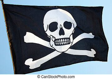 Jolly Roger Pirate Flag - Pirate flag of skull and...