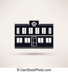 Veterinary Pet health care, building icons, vector