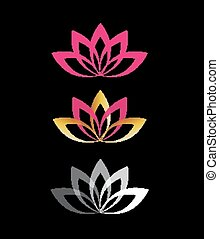 Lotus flower logo abstract vector