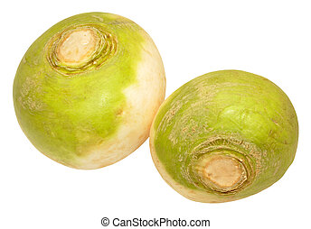 Turnips - Two raw turnip vegetables isolated on a white...