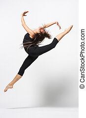 dance - young modern ballet dancer posing on white...