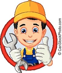 mechanic or handyman cartoon - vector illustration of...