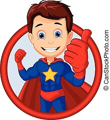 cute superhero posing - vector illustration of cute...