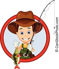 fisherman cartoon for you design - vector illustration of...