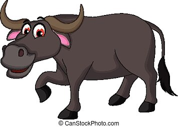 buffalo cartoon posing - vector illustration of cute buffalo...