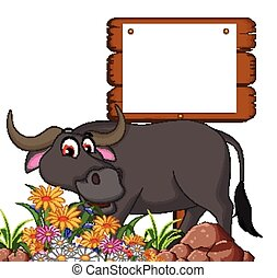 buffalo cartoon posing with board - vector illustration of...