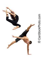 the dancer - modern ballet dancer posing over white...