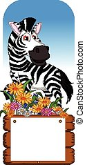 funny zebra cartoon with sign