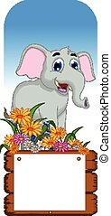elephant cartoon with blank board