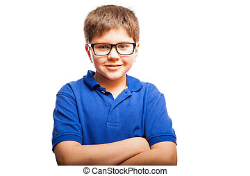 Happy kid with arms crossed - Cute blond boy wearing glasses...