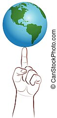 Global Player Finger Planet Earth - Planet earth on a giant...