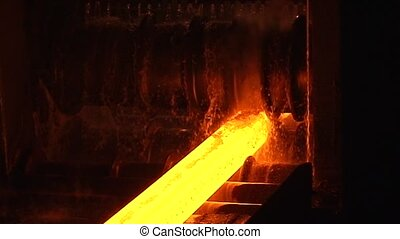 Hot steel  - hot steel moving through the pipeline
