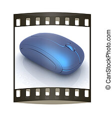 Blue metallic computer mouse. The film strip