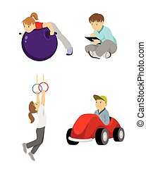 Children on white - Vector illustration of a children on...