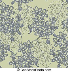 Seamless wallpaper with a branch of lilac blossoms. Vector illus