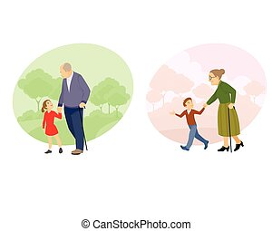 Grandparent walking with offspring - Vector illustration of...