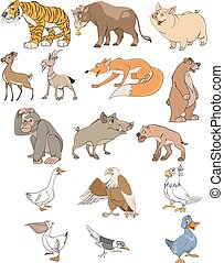 Animals and birds set - Vector illustration of animals and...
