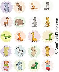 Icons animals set - Vector illustration of the icons animals...