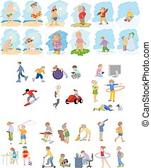 Images of children set - Vector illustration of images of...