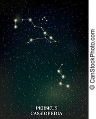 Perseus and Cassiopedia constellation