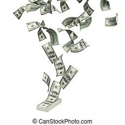 Dollars - Symbol of wealth and success -  rain from dollars