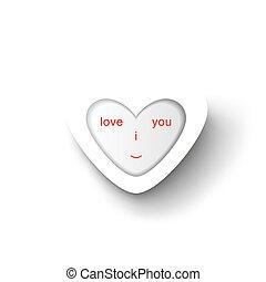 I love you. Conceptual paper heart.