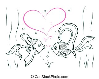 Couple in love fairy goldfish. - Sketch of couple in love...