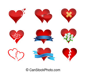 heart icon set illustration design over a white background