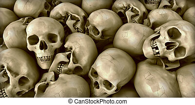 Skulls - 3D rendering of a Pile of skulls ideal for...