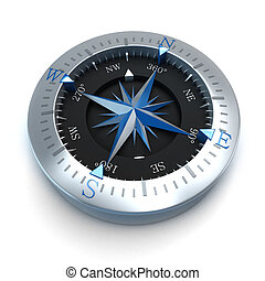 Compass blue - 3D rendering of a compass in a white...