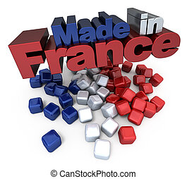Made in France - 3D made in France with French flag colors