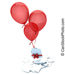 Surprise message - Floating balloons holding an envelope...