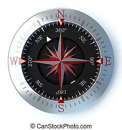 Compass red - 3D rendering of a compass in a white...
