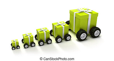 Green gift boxes convoy - 3D-render of a line of different...