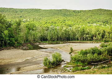 Stock Photo. Mountain River in the wood - Stock Photo....