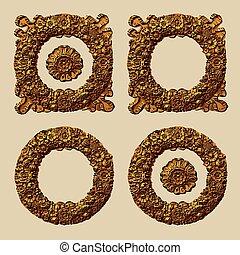 Retro Floral Wreath Set - Floral wreath set Retro vector...