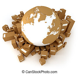 International removal - Cardboard textured world Atlantic...