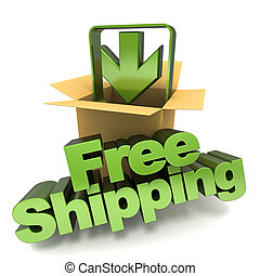 Free shipping - 3D rendering of a free shipping concept...