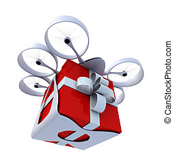 Drone flying present - 3D rendering of a giftbox flying held...