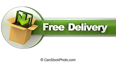 Free delivery banner - 3D rendering of a free delivery...