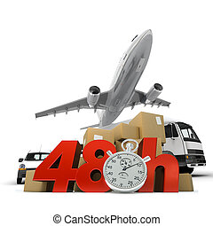 Air transportation in 48 hrs - 3D rendering of a pile of...