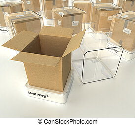Delivery showcase - Cardboard boxes in showcases labeled...