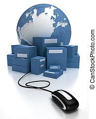 global, consignação, em, azul,