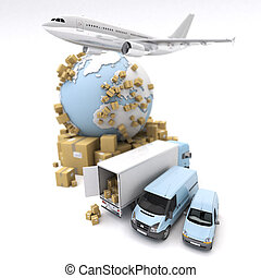 International goods transport - 3D rendering of the Earth,...