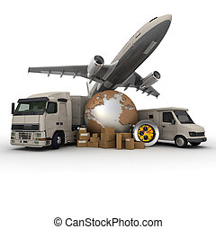 Transportation logistics - A messenger with a world map, a...