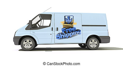 Delivery van, free shipping - Delivery van with a sign...