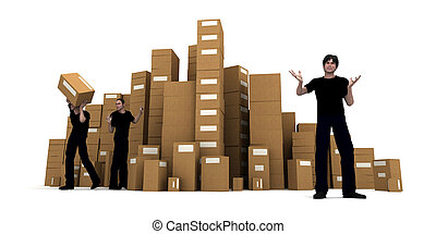 Moving day - 3D rendering of piles of cardboard boxes and...